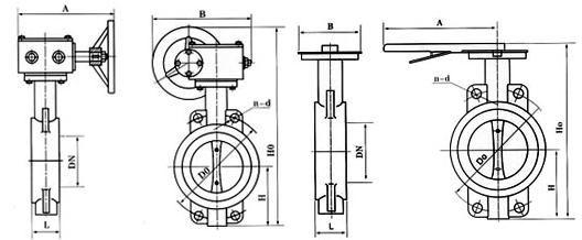 D371J蝸輪對夾式襯膠蝶閥